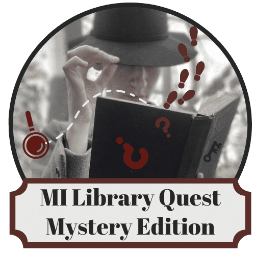 MILibrary Quest logo with mysterious figure holding an open book with footprints and question marks falling out.
