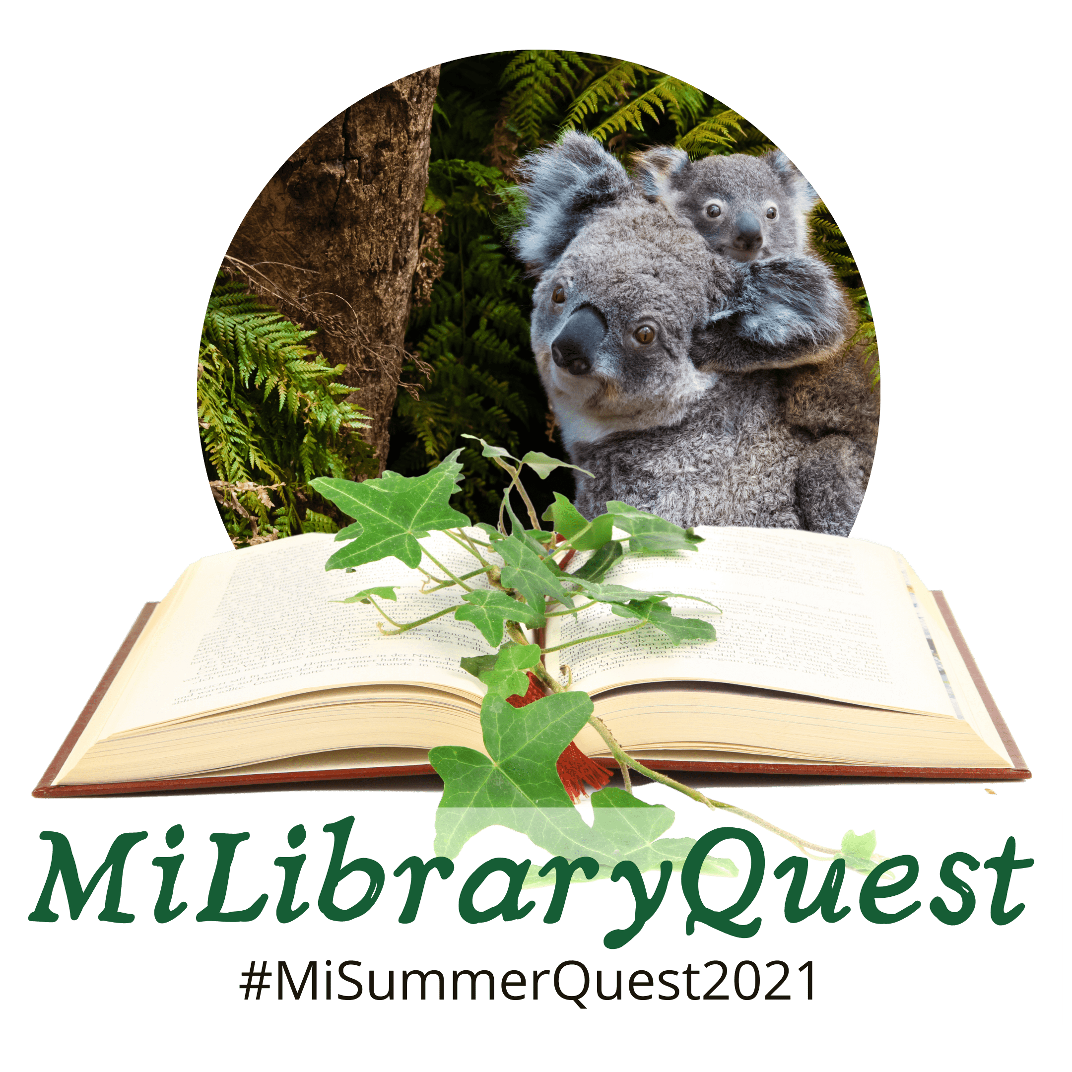 MiLibraryQuest logo with koalas, an open book, and the text #MISummerQuest2021
